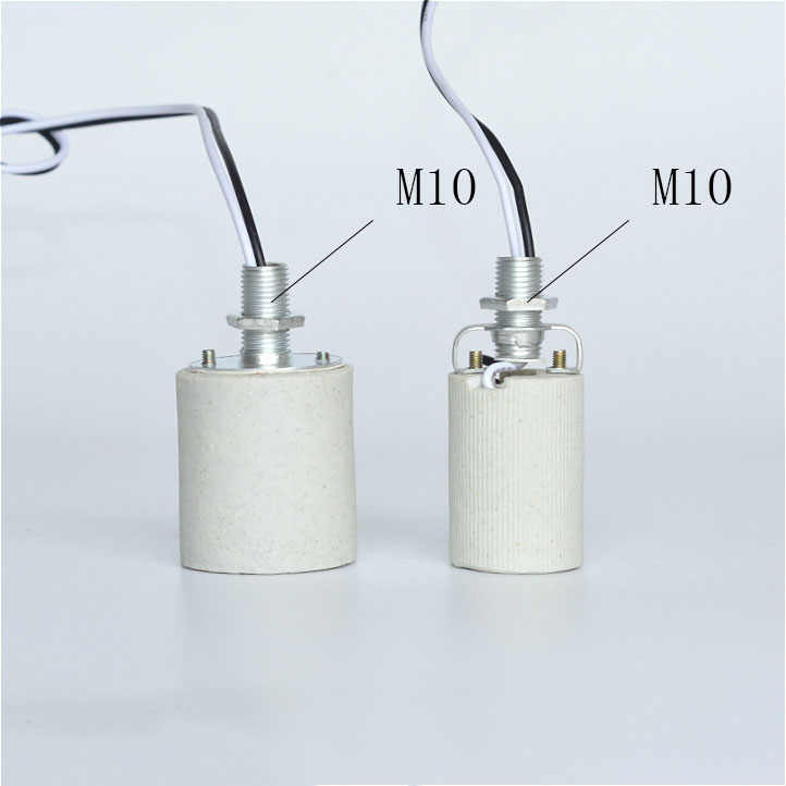 1PCS High temperature ceramic Lamp Holder E14 E27 lamp Base, lighting lamp Socket with bracket, with Screws and Nuts
