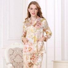 Gerçek ipek pijama kadın 100% ipek pijama kadın uzun kollu pijama pantolon iki parçalı setleri yüksek kaliteli ev giyim T8122