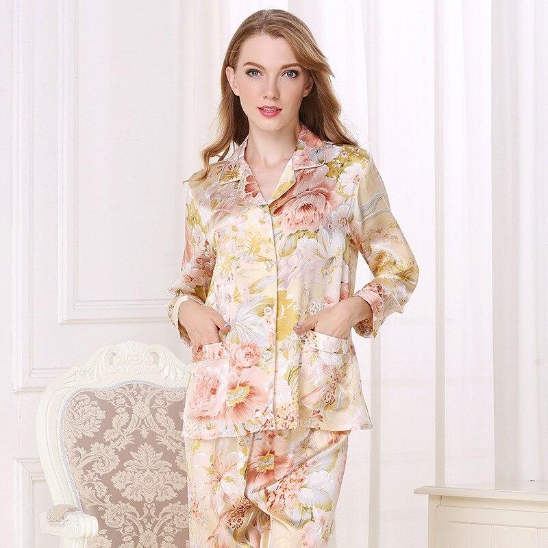 Real Silk Pajama Female 100% SILK Sleepwear Women Long-Sleeve Pyjama Pants Two-Piece Sets High Quality Home Clothing T8122