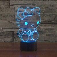 참신 헬로 키티 3D 시각 밤 램프 LED 야간 터치