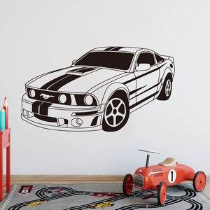 Большой Мустанг мускул автомобиль авто настенный игровой стикер мальчик комната Детская комната гонки супер автомобиль GTR Наклейка на стен...