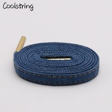 Coolstring 8mm Premium Flat Denim Shoelaces Metal Aglet Classic Laces Customize Your Kicks Blue Black Shoestrings For Sneakers