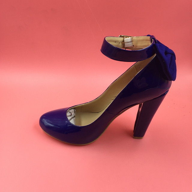 1985bcbdd4f9 Patent Leather Navy Blue Women Pumps Ankle Strap Round Toe Square High Heels  Block Heels Shoes Ladies Shoes Pumps Real Photo