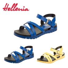 Купить с кэшбэком Hellenia 2018 new flat hee; color fashion comfortable sandals shoes women's sandal casual ladies summer shoes vacation footwear