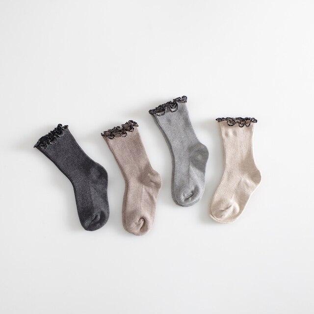 158e9fd3d Girls Socks Princess Lace Baby Socks Winter Cotton Knee High Long Leg  Warmers Cute Socks School Girl Sweet Socks For 0-4 Y Baby