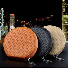 ymjywl New Fashion Car Lattice CD Box For DVD Case Automotive Supplies Storage Box Home Car Holder High Quality Leather CD Bag