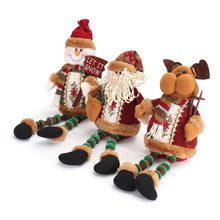 1Pcs Christmas Santa Claus Snowman Deer Sitting Reindeer Doll Decoration Toys Christmas Gift Xmas Tree Hanging