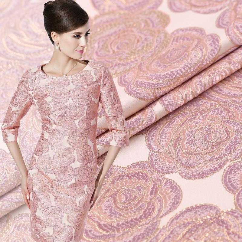 Limited Hot výprodej Export Itálie Pink Rose žakárové zlaté brokátové módní tkaniny pro šaty Křupavé tissu au meter jasné tkaniny DIY