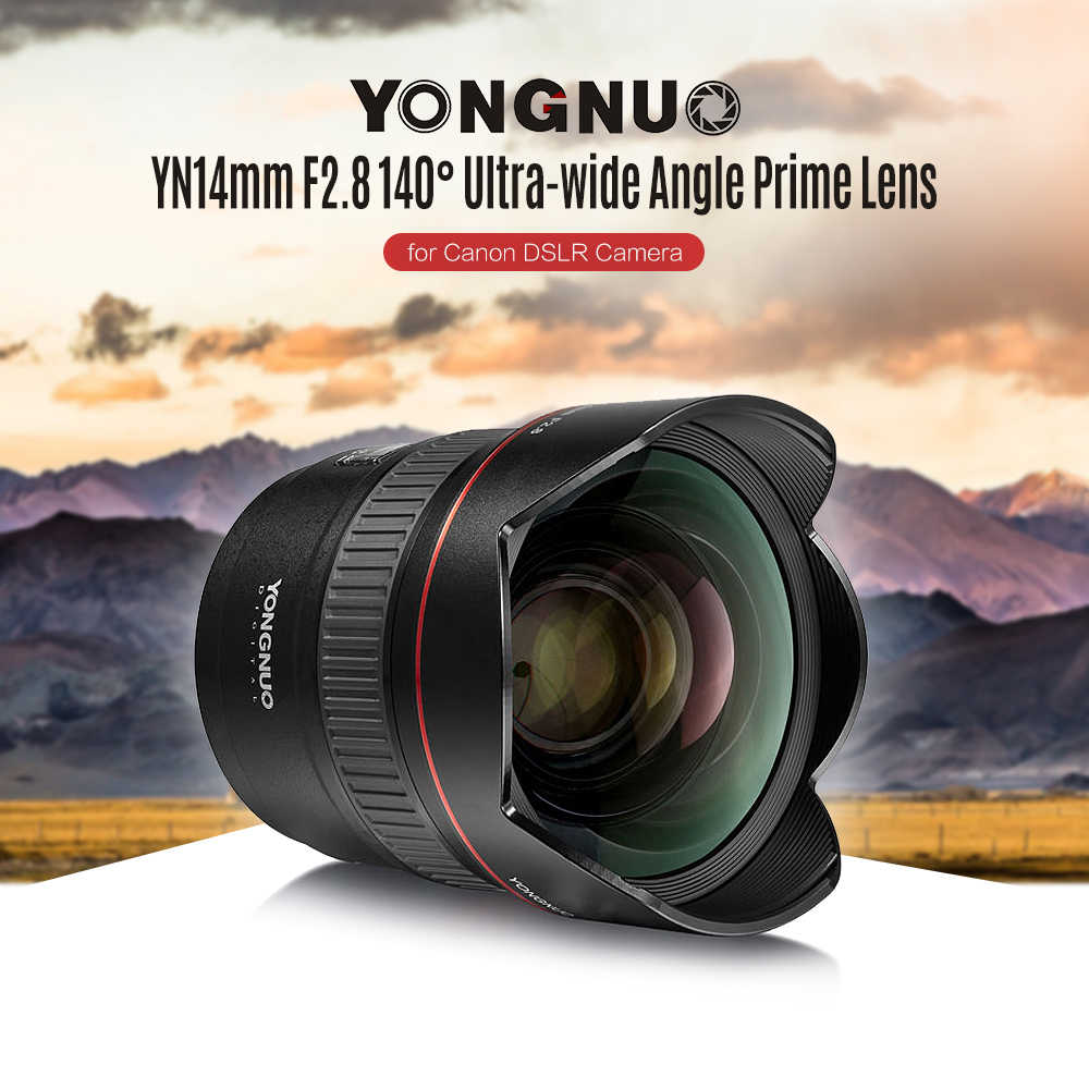 Lente de câmera yongnuo yn 14mm f2.8 af mf, lente prime autofocus, ultrafina, para canon 5d câmera iii iv 6d 700d 80d 70d