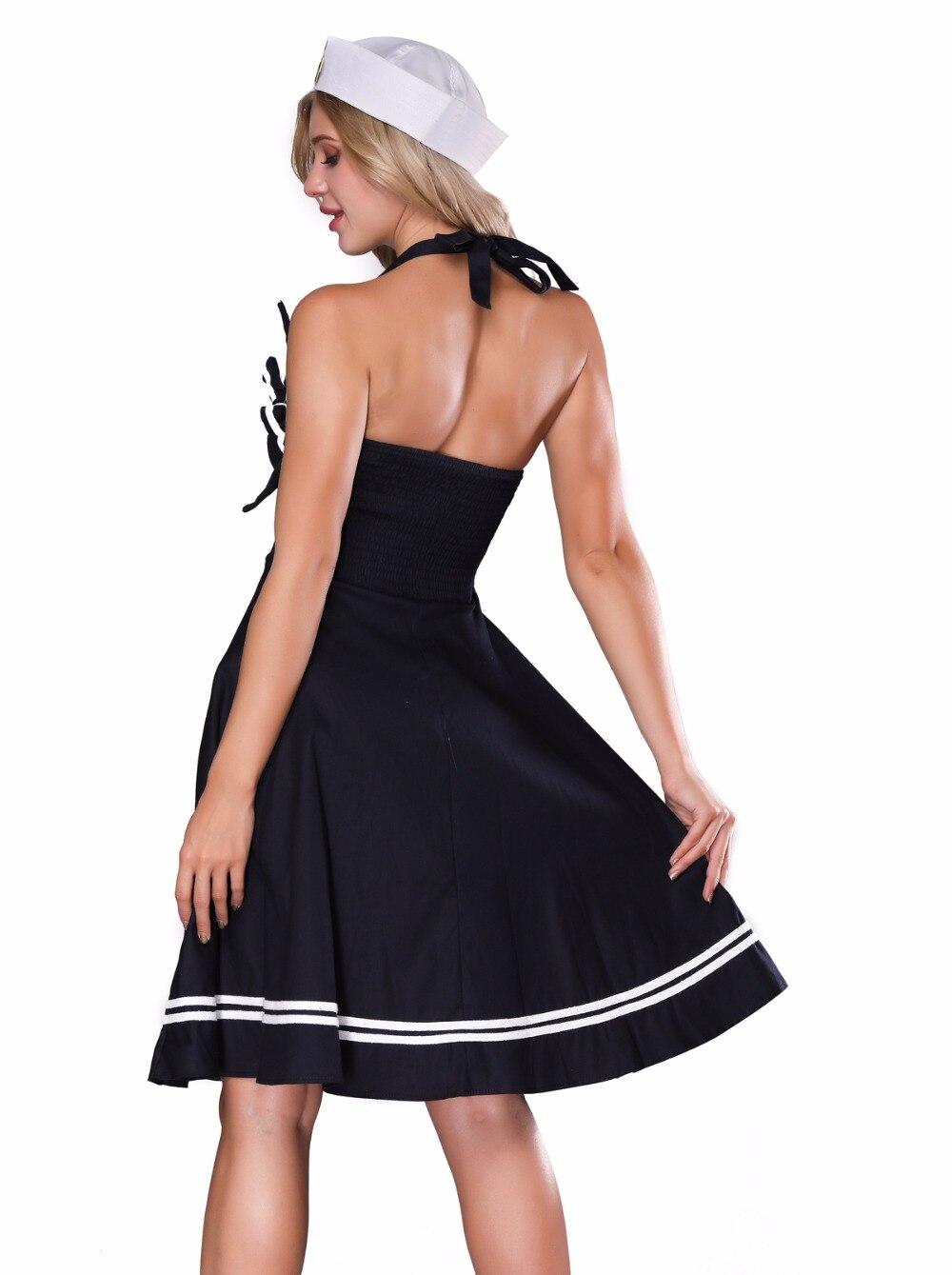 White Retro Vintage Pin Up Sailor Skirt Set Adult Costume