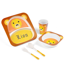 5 pcs/set  Bamboo Fiber Childrens Tableware Set Baby Feeding Plate Bowl Cup Spoon Fork Cartoon Dinnerware Kids Dishes