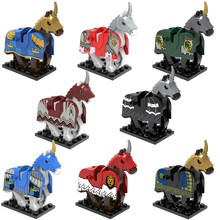 8PCS War Horse Medieval Knights Rome Crusader Accessories The Lord of the Rings Building Blocks Bricks Kids Toys XH0158