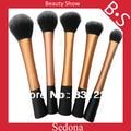 Sedona Alta Qualidade 5 peças Super macio Taklon cabelo Dourado kit de maquiagem cosméticos kabuki pincel de maquiagem set ouro rosa escova