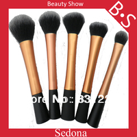 High Quality 5 Pieces Super Soft Taklon Hair Golden Makeup Brush Set Golden Makeup Kabuki Brush