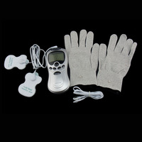 Health Care Tens Acupuncture Electric Therapy Massageador Electric Digital Massager With Fiber Electrode Massage Gloves