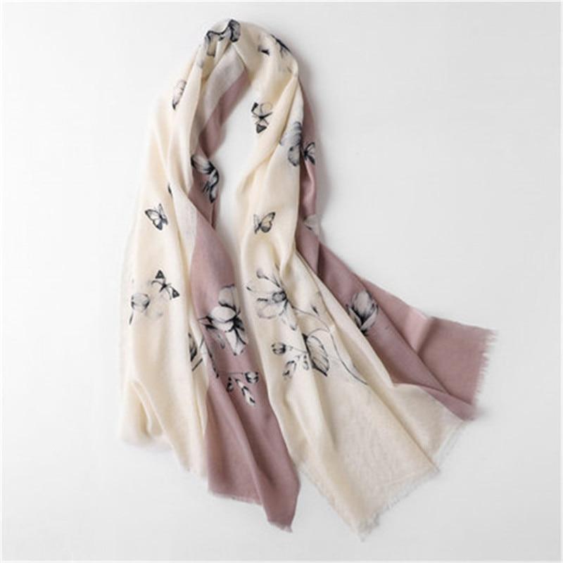 korean style 100%wool women fashion printed thin scarfs shawl pashmina small tassel 70x190cm