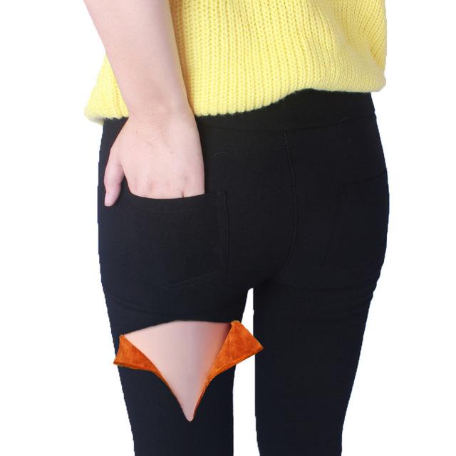 Plus de Gran Tamaño 2XL 3XL 4XL 5XL 6XL 7XL Invierno Pantalones otoño de Las Mujeres de La Alta Cintura Espesar Terciopelo Grueso Lápiz Pantalones de Bolsillo 11051716