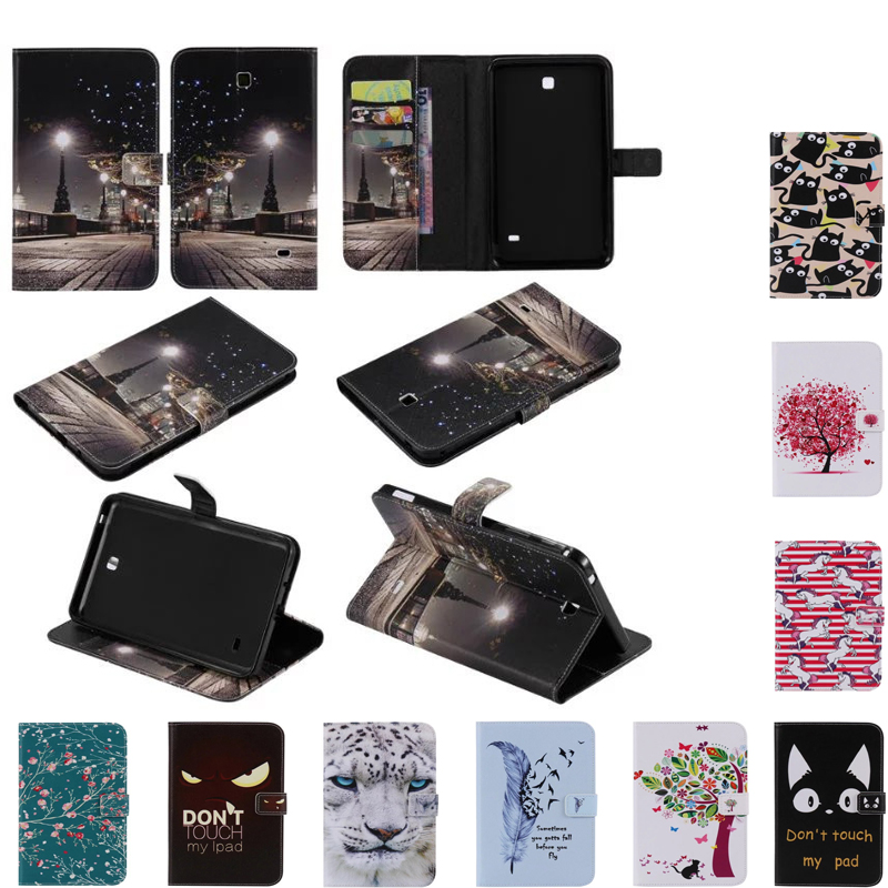 New Animal Cartoon Painted Flip Case for Samsung Galaxy Tab 4 7.0 T230 SM-T231 PU Leather Tablet Stand Cases with card slot