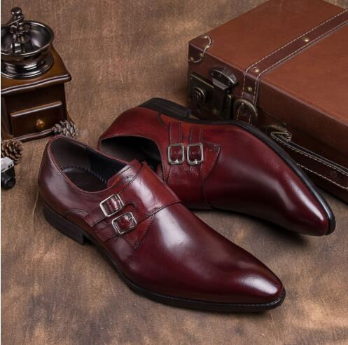 Europe America Men pointed-toe handmade shoes fashion Double Buckle oxford for men Genuine leather party wedding shoesEurope America Men pointed-toe handmade shoes fashion Double Buckle oxford for men Genuine leather party wedding shoes