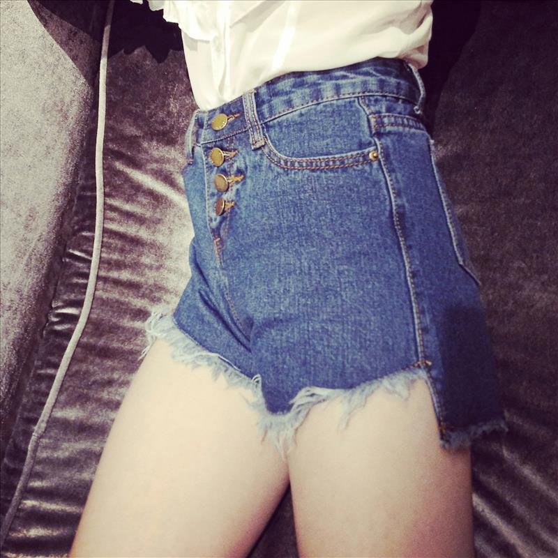 2019 Korean Version Of Vintage High Waist Denim Shorts, Female Fringed Tassels Shorts, Loose Big Size, Wide Legged Trousers