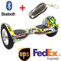 10 Inch 2 Wheel Smart Self Balance Electric Scooter Secure Battery Bluetooth Remote Standing Drift Board