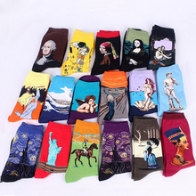 HaNew Retro Art Oil Painting Men Socks Cotton Fashion Happy Socks Long Socks Calcetines Streetwear Vintage