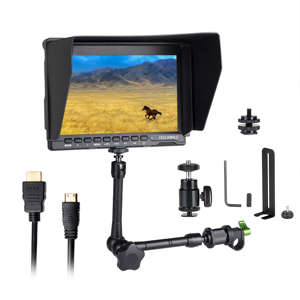 Feelworld FW759 7 LCD DSLR Camera HD IPS 1280x800 HDMI Field Monitor for BMPCC + 15mm Rod Clamp + 11 Magic Adjustable Arm