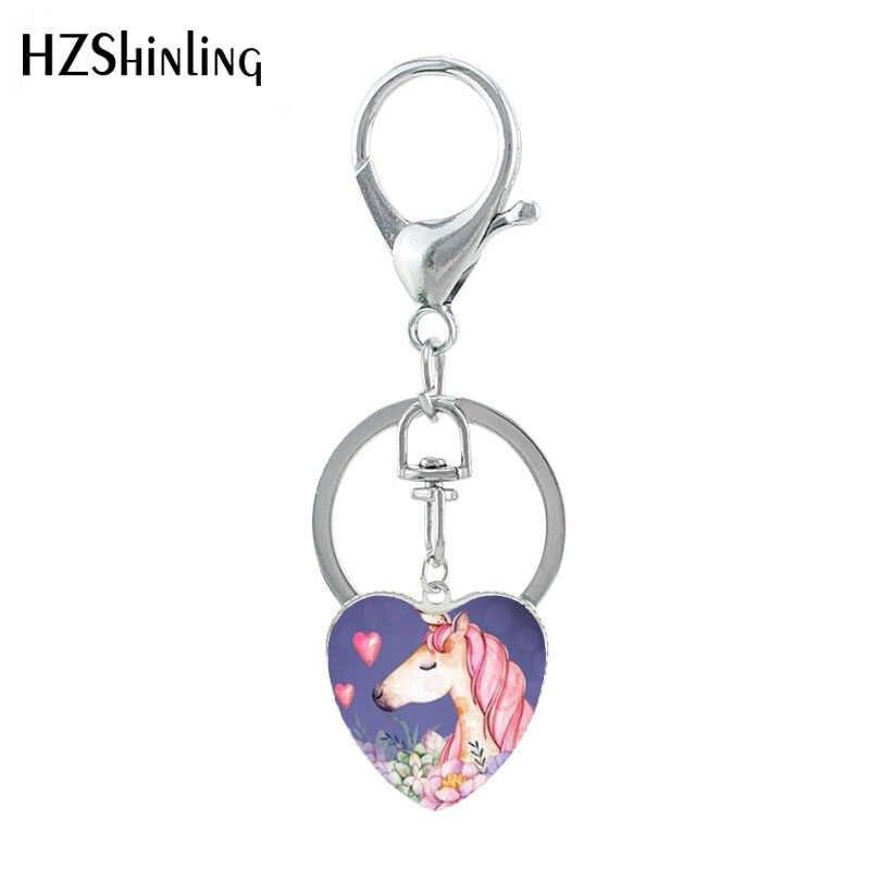 HZSHINLING ใหม่รูปหัวใจพวงกุญแจสัตว์เครื่องประดับจี้เงินแฟนซี Unicorn Keyring เครื่องประดับ