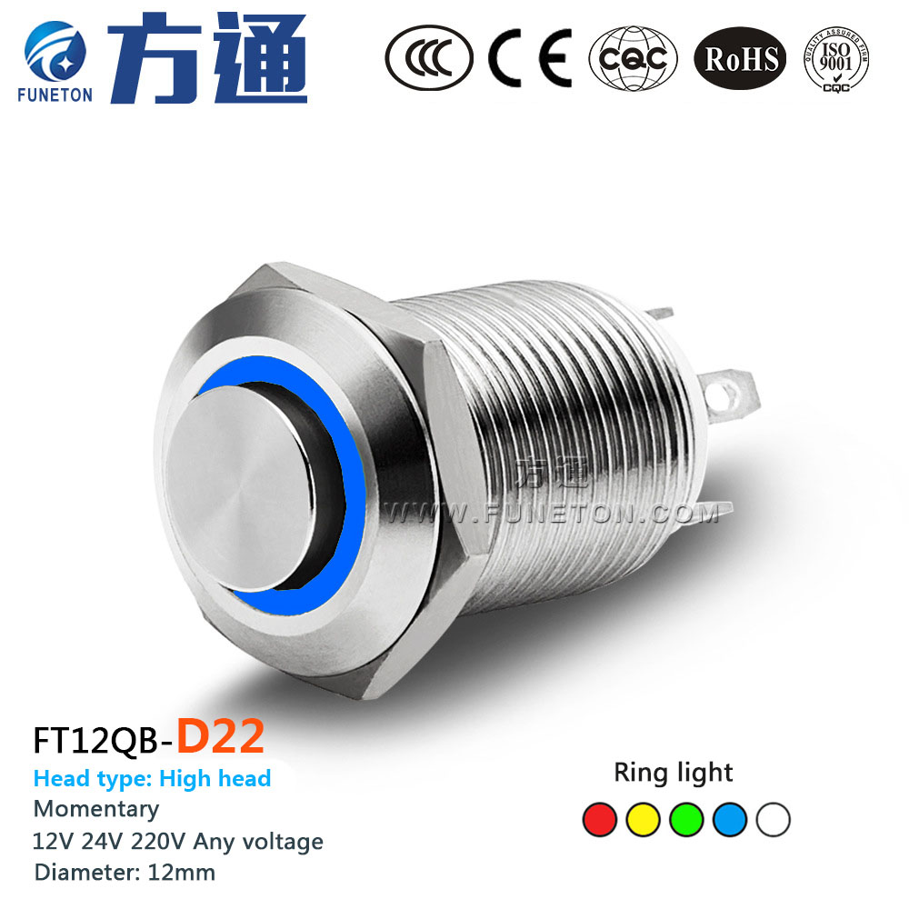 Ft12qb D22 12mm Metal Push Button Switch With Led Light 6v 12v 24v 250vac Wiring Diagram 36v 110v 220v Momentary Power Highring In Switches From Home