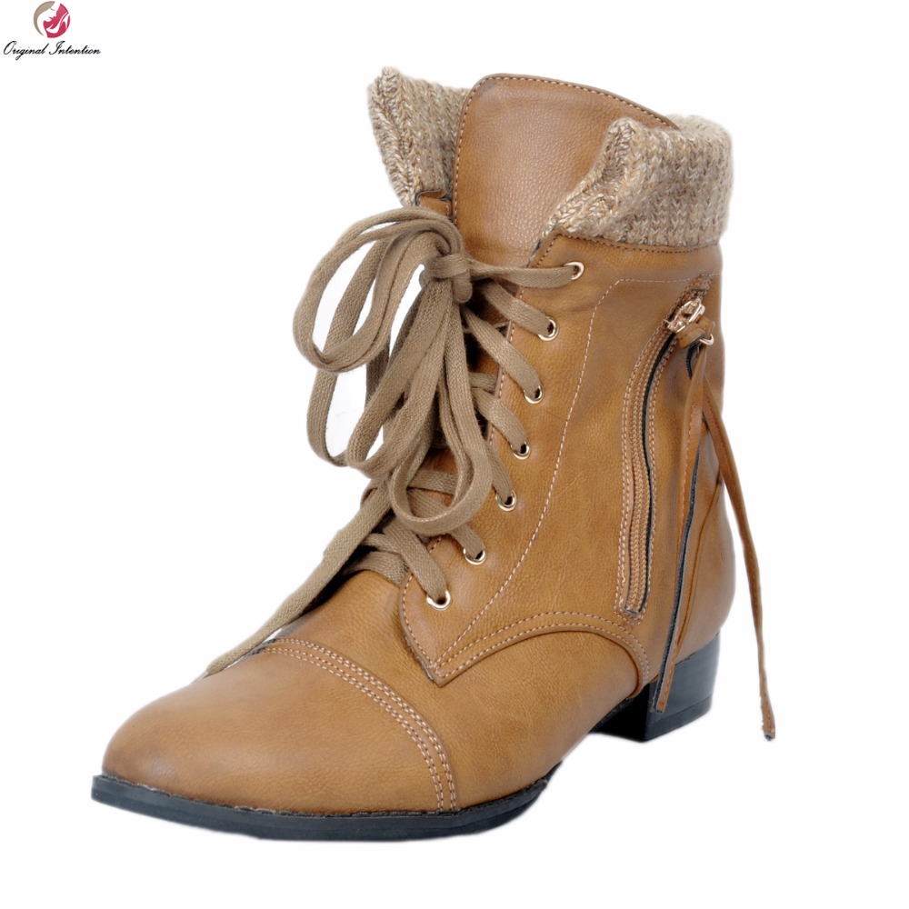 Original Intention New Fashion Women Ankle Boots Round Toe Square Heels Boots High-quality Brown Shoes Woman Plus US Size 4-15 original intention high quality women ankle boots pointed toe square heels boots fashion black brown shoes woman us size 4 10 5