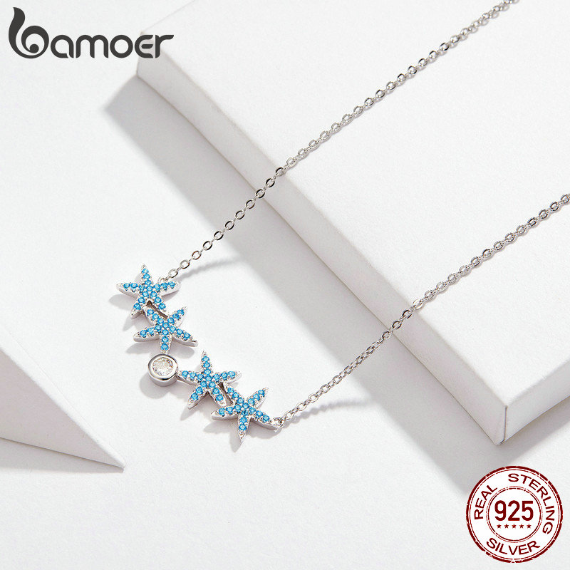 Image 3 - bamoer Ocean Blue Starfish Necklace Earrings Jewelry Sets 