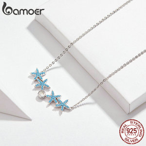 Image 3 - bamoer Ocean Blue Starfish Necklace Earrings Jewelry Sets Authentic 925 Sterling Silver AAA Zirconia Stone Jewelry ZHS118