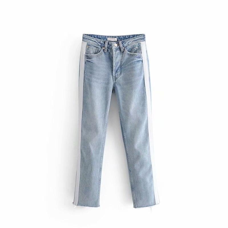 Mujeres Lavado Remiendo Jeans 2018 Fit Lado Alta De Pantalones Rayado Slim Cintura Nuevo Azul Mediados 00CwxnZq