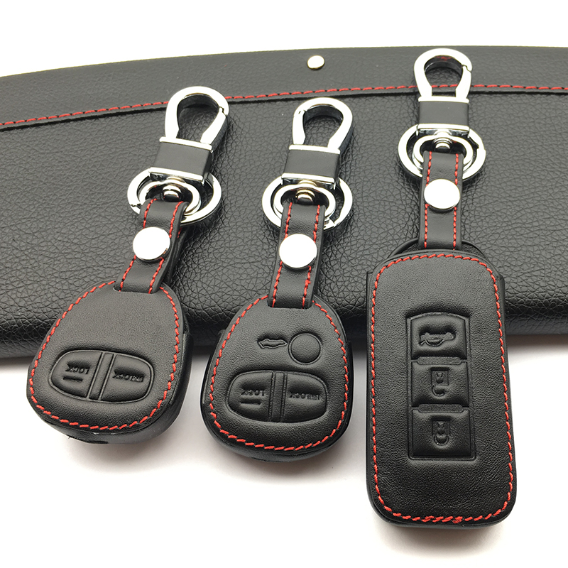 High Quality Genuine Leather Cover Wallet Key Remote Case For Mitsubishi Outlander Asx Colt LANCER Grandis Pajero Sport 2 Button