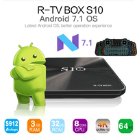 NUEVA CAJA R-TV S10 Android 7.1 KODI 17.4 Smart TV Box Octa S912 Core 4 k 2/3G 16/32G BT4.1 5G WiFi Media Player Set Top Box TV caja