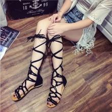 HENGSONG 2018 New Summer Girls Cross Strap Sandals High Gladiator