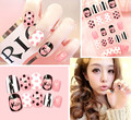New 12 pieces Kiss Heart Wave Point Fashion Style Desgin Plastic Art  short Fake false Sticker Nail Tips With Glue Gel D001