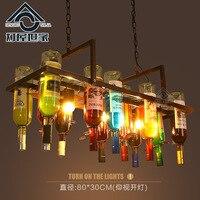 Творческий бутылка персонализированные художественной Дизайнер подвесной светильник Лофт бар ресторан кафе бар Гостиная Декоративные