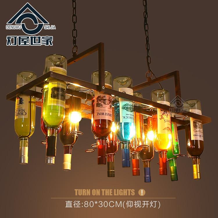 Creative bottle personalized artistic designer pendant lamp Loft Bar Restaurant Cafe bar living room decorative xl7215 personalized decorative color feather creative wallpaper