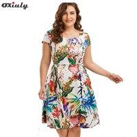 Oxiuly Print Floral 50s 60s Vintage Dresses Plus Size 5XL Audrey Hepburn 2017 Summer Retro Dress