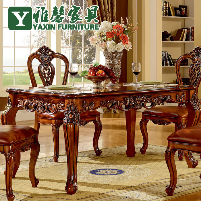 Xin Ya European Antique Wood Dining Table And Chairs Combination Of  Imported Hand Carved Oak Dining Table Classic Table In Dining Tables From  Furniture On ...