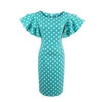 2017 Women Bodycon Solid Dress Petal Sleeve Vintage Blue Dress Female Sheath Pin Up Dot Dress