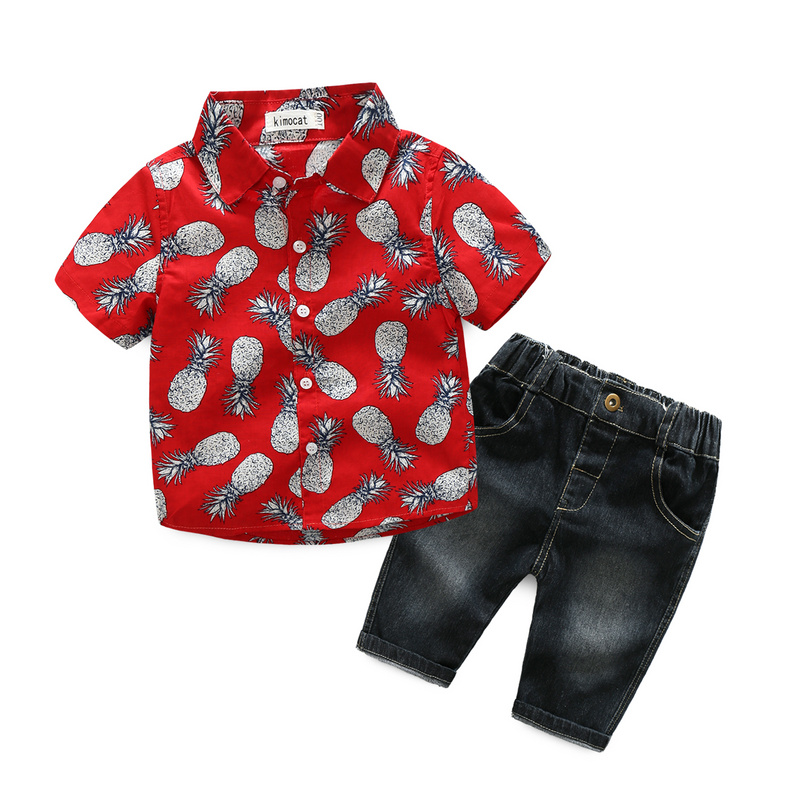 Fashion Kids Clothes Sets New Baby Boys Clothing Summer Children Suits Short Sleeve Floral Shirt+Jeans Pants 2 Piece Suits 3-8Y