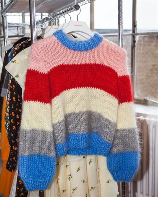 Lantern sleeve rainbow striped mohair sweater women pullovers o-neck loose knitted 2018 autumn new arrivals S,M,L 3