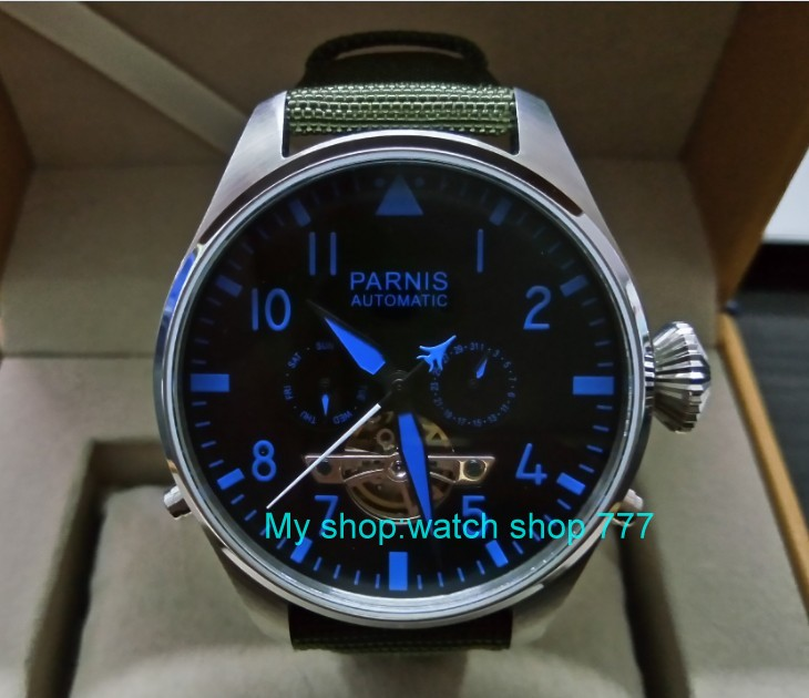 47mm big dial PARNIS Asian st25 Automatic mechanical movement men watches Auto Date & Auto week Nylon strap 66a