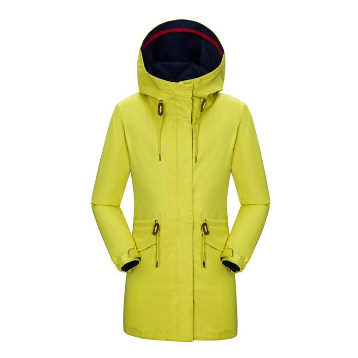 2017 Spring and Autumn in the new long section of the wind and rain drawstring waist hooded jacket Jackets