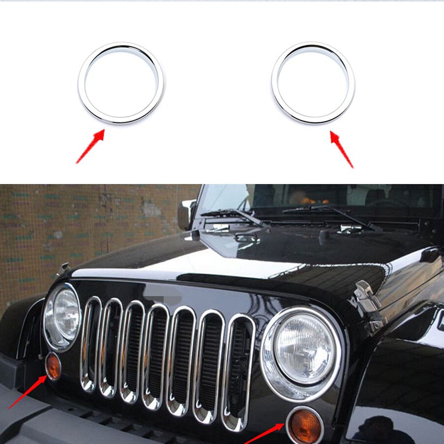 hight resolution of 2pcs chrome front grille grill mesh grille insert kit light lamp cover trim for jeep wrangler jk 2007 2015 free shipping in lamp hoods from automobiles