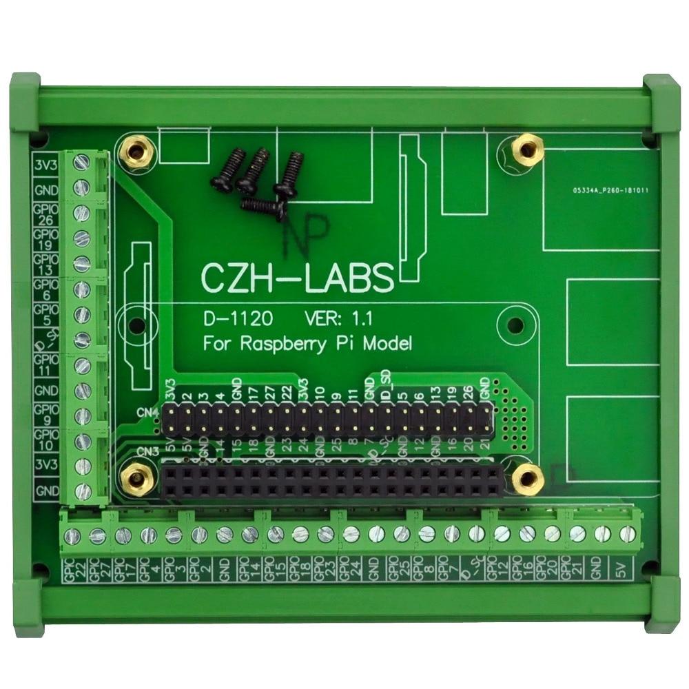 DIN Rail Mount Screw Terminal Block Adapter Module, For Raspberry Pi 1 Model B+ / Pi 2 Model B / Pi 3 Model B / Pi 1 Model A+.