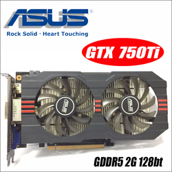 Usado asus GTX-750TI-OC-2GD5 gtx750ti gtx 750 ti 2g d5 ddr5 placas de vídeo de mesa pci express 3.0 gtx 750 ti 1050 gtx750