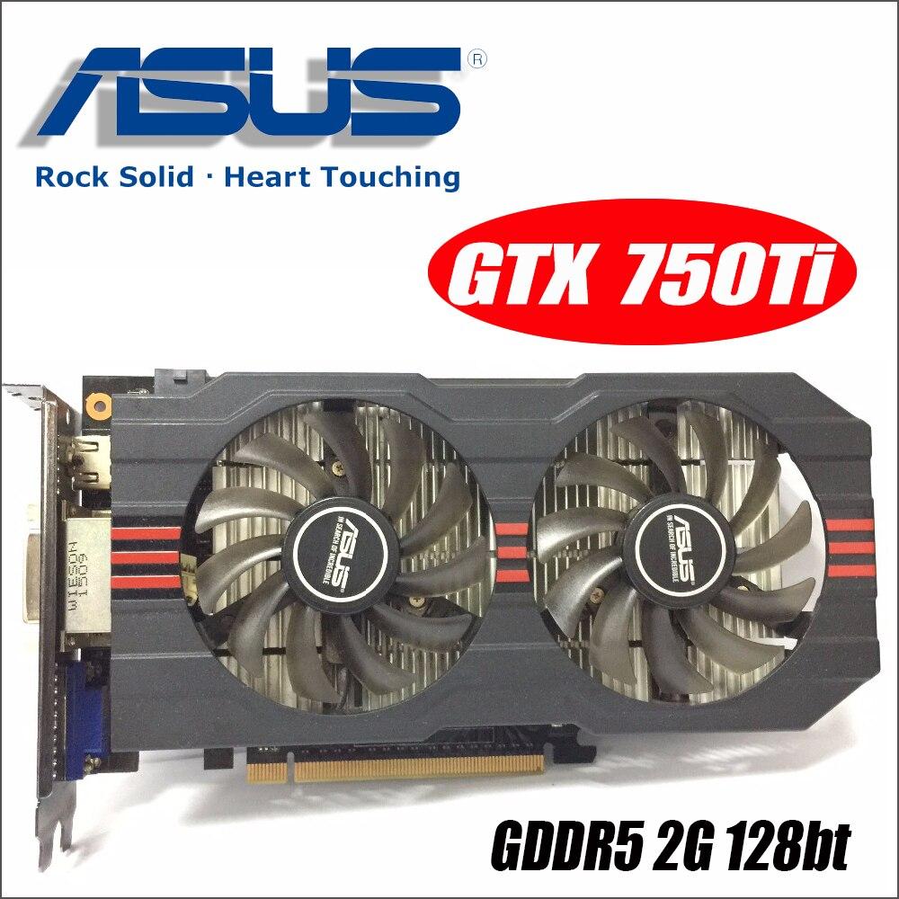 Verwendet Asus GTX-750TI-OC-2GD5 GTX750TI GTX 750TI 2g D5 DDR5 PC Desktop Grafiken video Karten PCI Express 3,0 GTX 750 ti 1050 GTX750